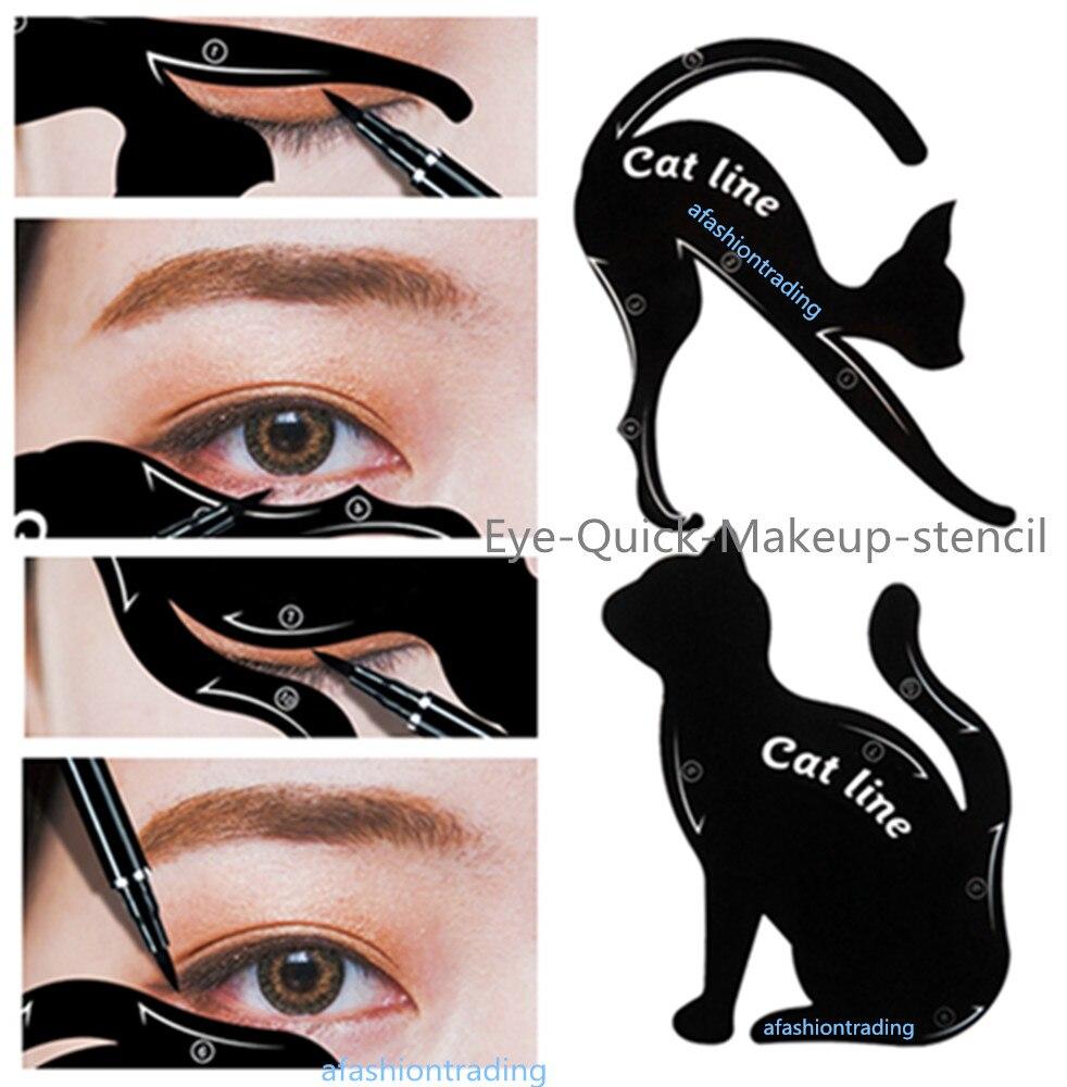 2 pcs Cat eye Smokey eye stencil Eyebrow template NWT