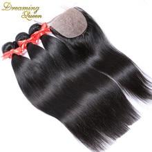 Peruvian Silk Base Closure With Bundles Straight Virgin Human Hair Weave With Silk Closure 3 Bundles