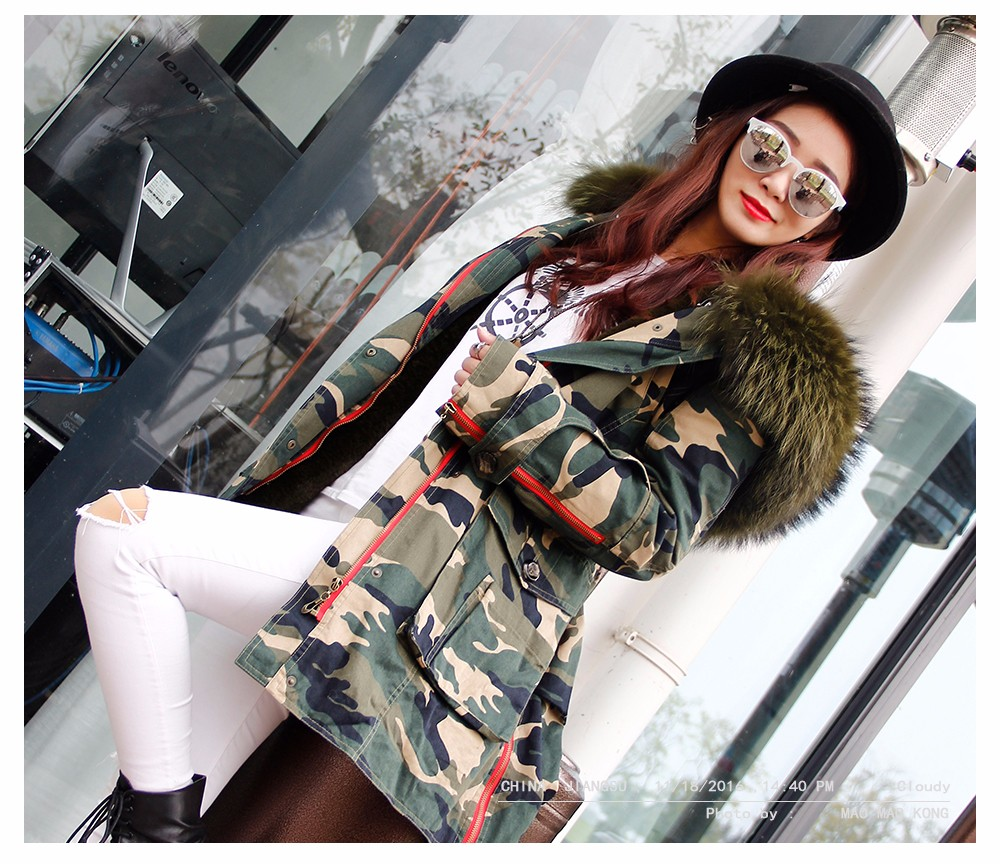 Winter Coats Women Jackets Real Large Raccoon Fur Collar Thick Ladies Down & Parkas Camouflage