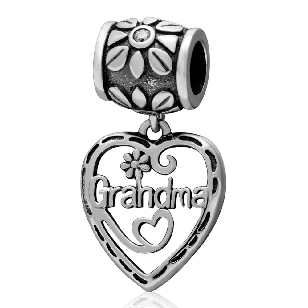 Heart Grandma Dangle Charm 100% Authentic 925 Sterling Silver Mother's Gift Beads fit for Pandora Bracelets & Necklaces