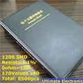 1206 1% SMD Livro Da Amostra Resistor pcs 170values * 50 = 8500pcs 0ohm para 10M 1% 1/ 4W Chip De Resistor Kit Sortido