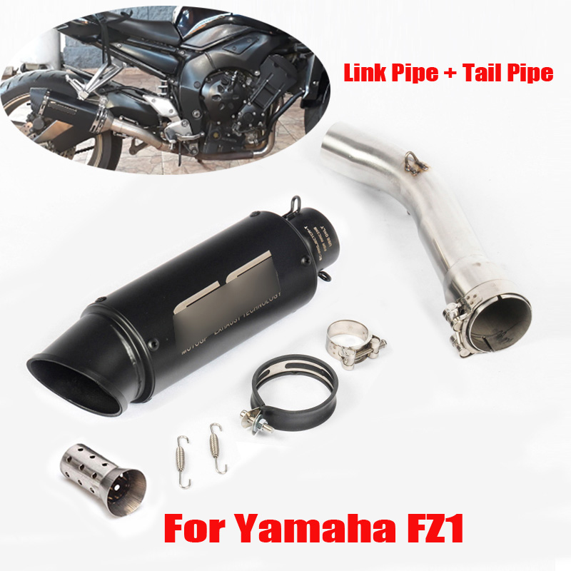 FZ1 Motorcycle Exhaust System Slip on Muffler Silencer Tip Link Pipe Middle Pipe for YAMAHA FZ1 with Exhaust Muffler(China)
