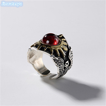 Jinwateryu fashion jewerly  men 925 silver ring with red stone golen sun god rings Helios ring