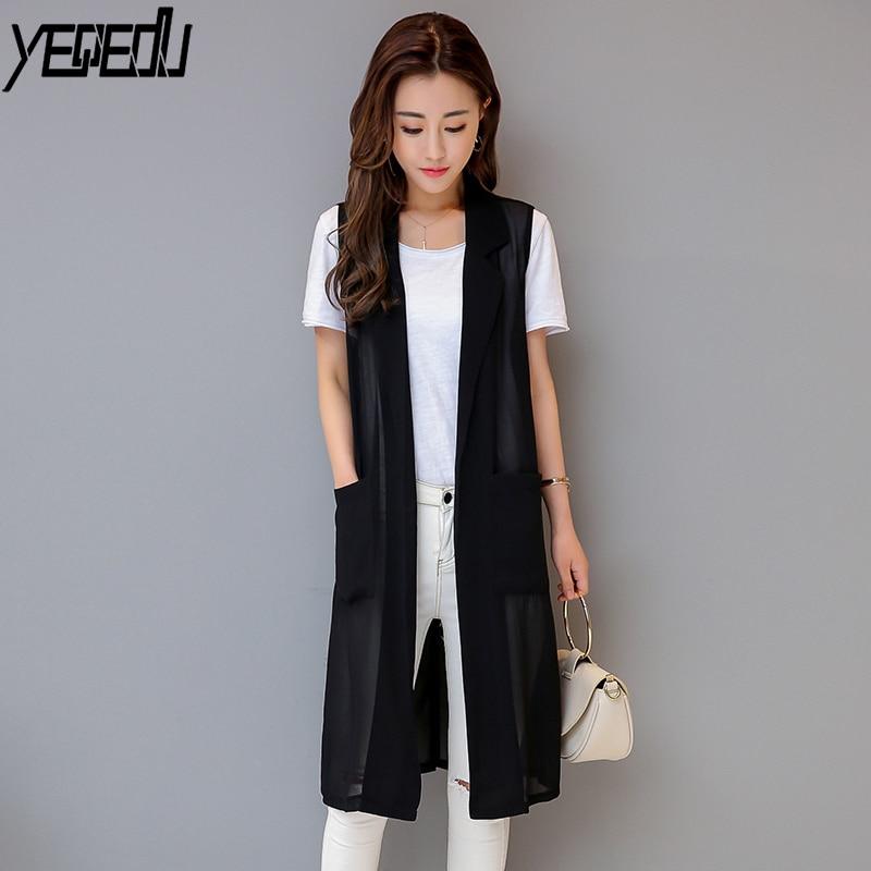 #0717 2018 Summer Large Thin Chiffon Sleeveless Vest Women Long Loose See Through Kimono Coat White/Black Waistcoat Plus Size