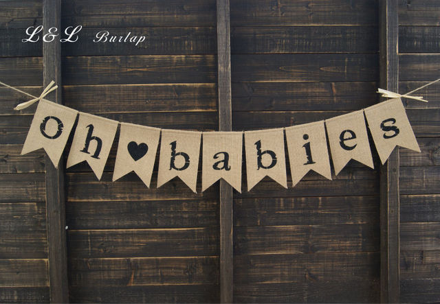 Burlap Baby Bunting, Baby Shower Decoration, Twins Bunting, Triplets  Bunting, Pregnancy Photo