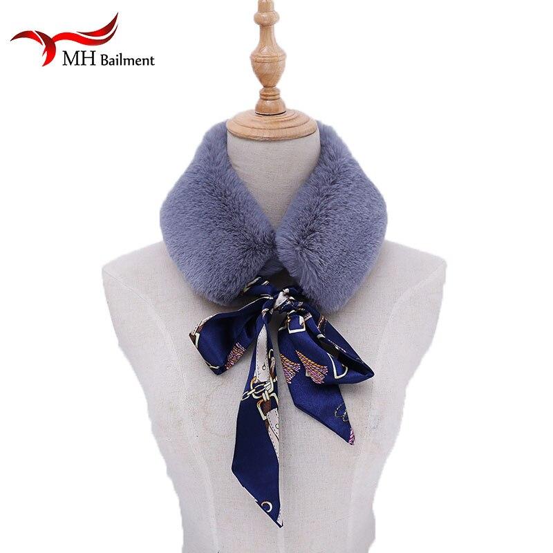 Faux Fur Scarf Women New Autumn Winter Warm Scarves Faux Rabbit Fur Flower Silk Ribbon Collar Wrap Scarves Scarf Hat Glove Sets