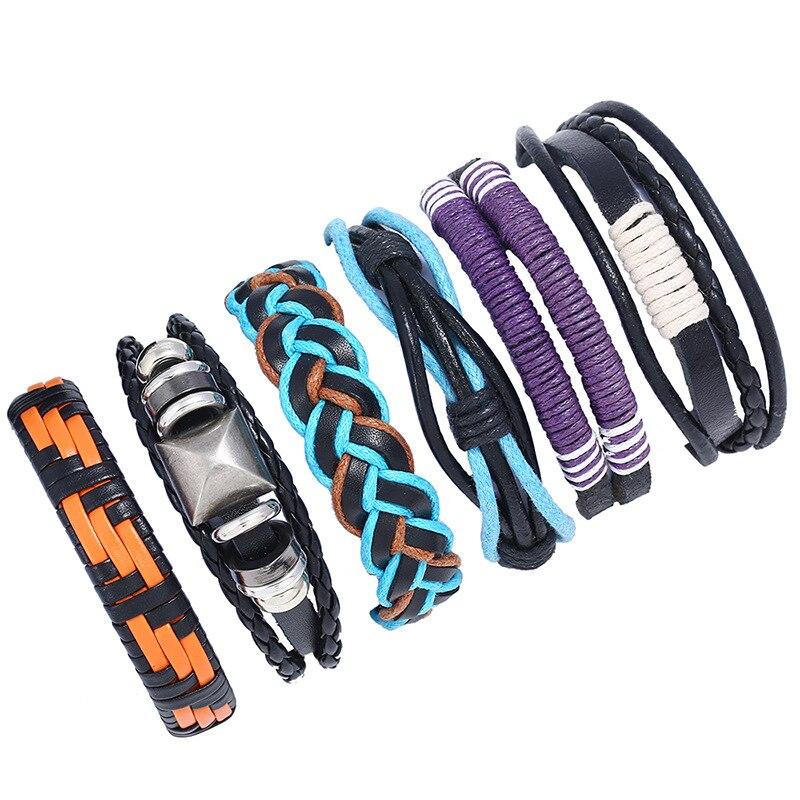 Alibaba Hot Selling Colorful Leather Braided Bracelet Set DIY Style Vintage Europe Bracelet Men Fashion Jewelry 2018