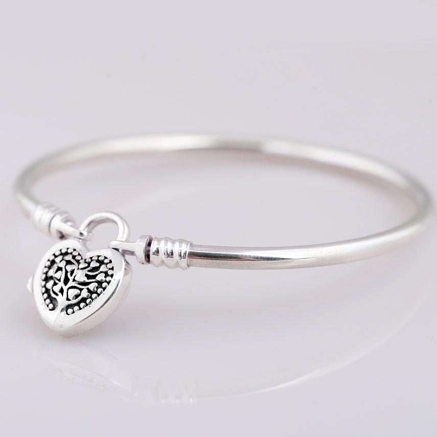 New MOMENTS Tree of Life Love Heart padlock Clasp Bracelet Bangle Fit Bead Charm DIY Europe Jewelry 925 Sterling Silver Bangle купить в Москве 2019