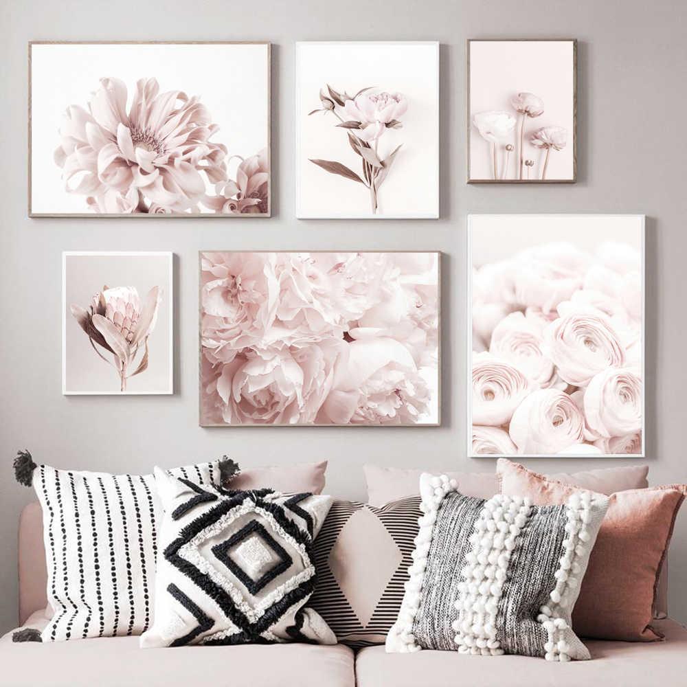 Scandinavian Style Peony Flower Canvas