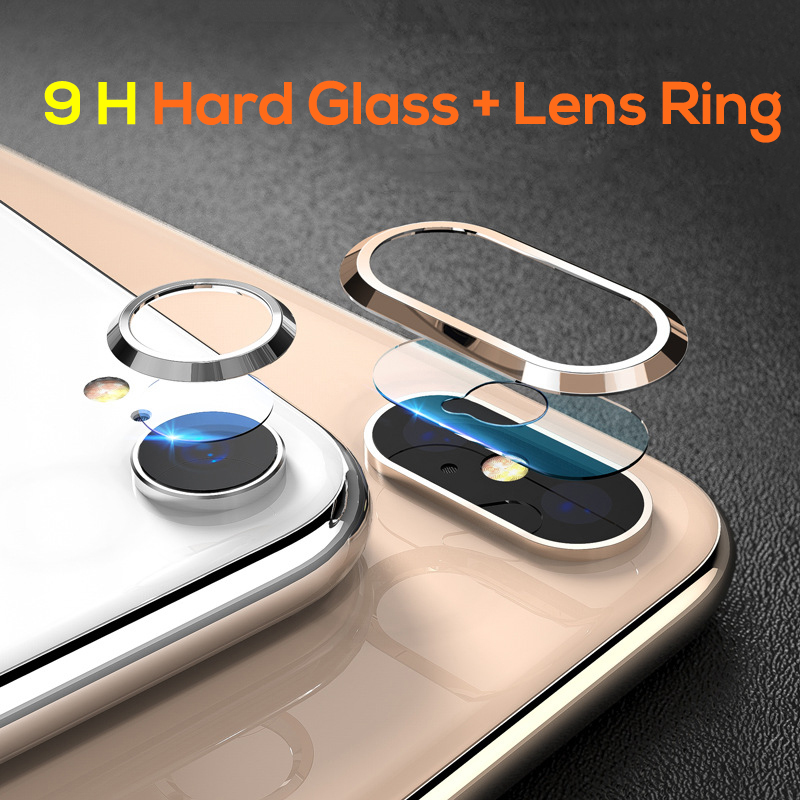Glonice For iPhone XS XR Camera Protector Screen Tempered Glass+Metal Lens Ring Case on for iPhone xs max iPhone x xr Film Cover