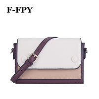 F FPY New Women Small Flap Bag Brand Vintage Panelled Design Girls Shoulder Bag Korean Style Female PU Messenger Crossbody Purse