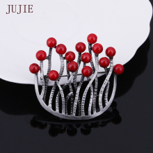 JUJIE Women's U-shaped Brooch In Retro Style Coral Brooches For Women 2016 Vintage Sanga Brooches Unique Design Jewelry