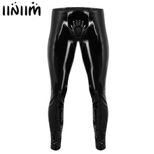 Pants Trousers Leggings Tight Open-Penis-Hole Shiny Patent Leather Clubwear Lingerie