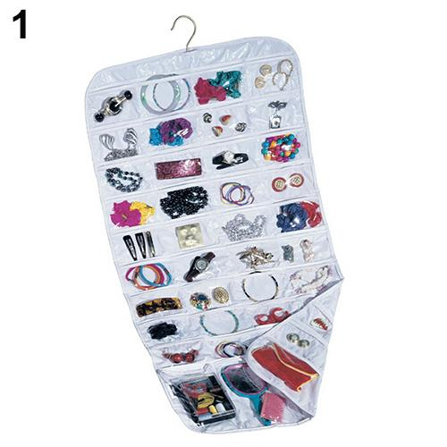 80 Pockets 2 Side Hanging Jewelry Accessories Organizer Closet Clear Storage Hanger Double-sided Transparent Jewelry Storage Box