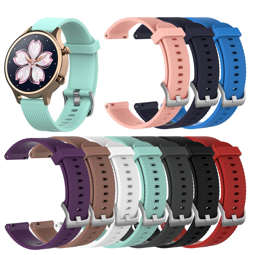 18mm Wrist Strap Watch Band For Ticwatch C2 Rose Gold Version For Garmin Vivoactive 4S Replacement Women's Silicone Wristband