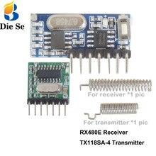 Módulo transmisor y receptor inalámbrico de 433Mhz, código de aprendizaje, decodificador EV1527, salida de 4 canales con botón de aprendizaje, control remoto DIY