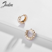 Joolim Jewelry Wholesale Pattern Enamel Hoop Earringn High End Cooper Simple Earring Trendy Earrings