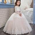 Lindo Vestidos de Comunhão Mangas Compridas Ruffles Lace Apliques Feitos À Mão Curvas Do Natal Das Meninas Rosa Tulle Vestidos de Baile