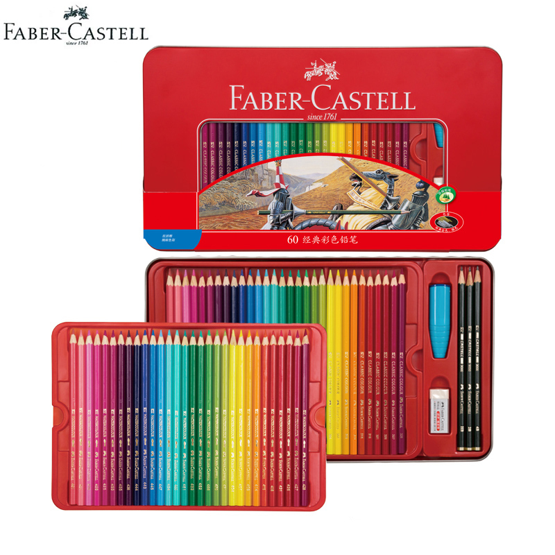 Faber Castell Classics Oily Colored Pencils Knight Tin Set with Metallic Color Pro Paint Pencil 48/60 Wooden Art Pastel Crayons