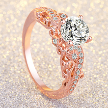 14K Rose Gold Princess Engagement Ring with Zircon Finger Bague Etoile Topaz Bizuteria Anillos De Gemstone Diamond Jewelry Rings