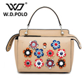 W.D.POLO Genuine leather women color dot handbags flower high chic brand design lady shoulder bags easy matching boutique M2129