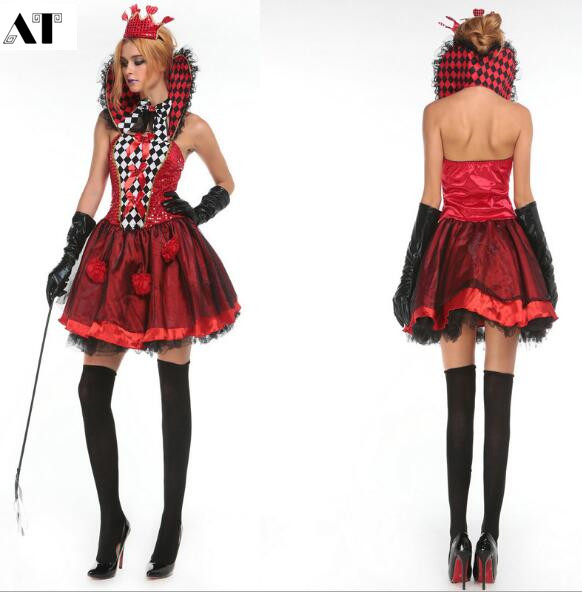 Adult Princess Costume Female Elegant Dress Poker Queen Costume Carnival Party Outfit