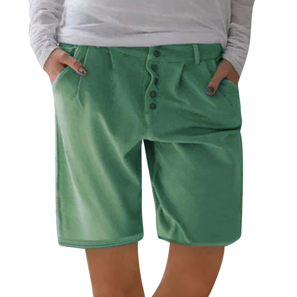 WOMAIL 2019 New Product Fashion Women Solid Buttons Comfortable Cool Cotton And Linen Pockets Casual Vintage Green Shorts Z30604