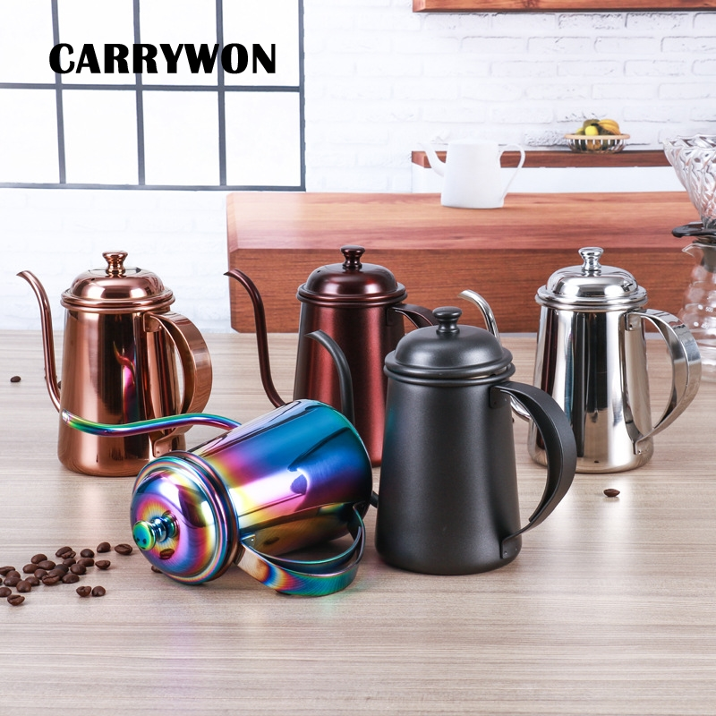 GENNISSY 650ml Creative Fine Mouth Hand Punch Coffee Pot 304 Stainless Steel Household Drip Brew Long Mouth Fine Pot Tea Kettle