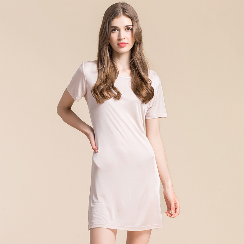 The New Summer 100 pure Silk Double Knit Short Sleeved Nightgown Loose Women Size Silk Petticoat