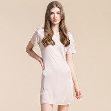 Новые летние 100% чистого шелка двойной вязки с короткими рукавами ночная рубашка свободные женские Размеры шелк Юбка поддержку