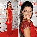 Kendall Jenner Red Floor Length Chiffon Cap Sleeves Beaded Elegant Celebrity Dress In Red Capet