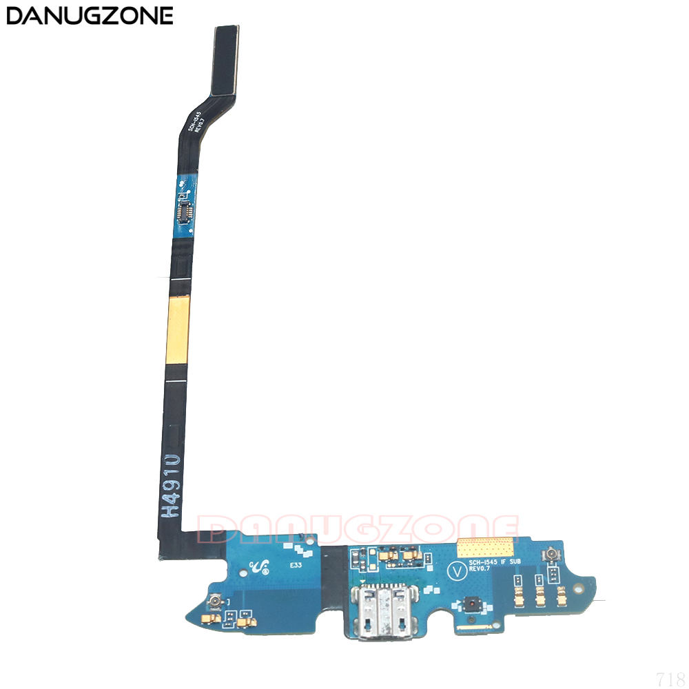 USB Charging Port Connector Charge Dock Socket Jack Plug Flex Cable With Microphone For Samsung Galaxy S4 I545 SCH-I545