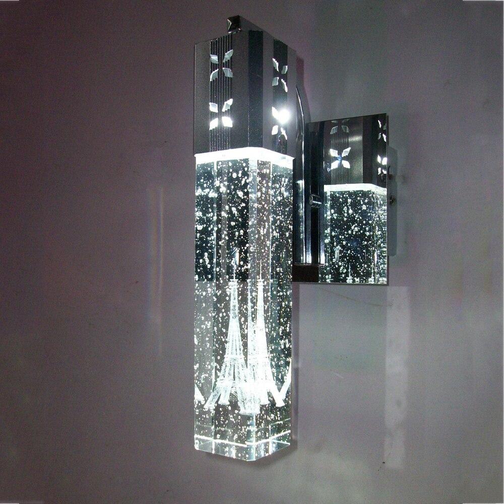 Современный краткое Париж башня в пузырь кристалл настенный светильник LED Home-деко спальня столбец алюминиевого бра светильник 110/ 240 В