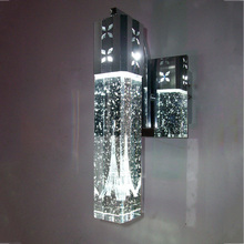 Modern brief Paris tower in bubble crystal LED wall lamp home deco bedroom column aluminum wall sconce light fixture 110/240V