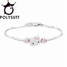 Новый серебряный позолоченный кратким пряжки hello kitty сердце кристалл супер флэш-браслеты для женщин и браслеты