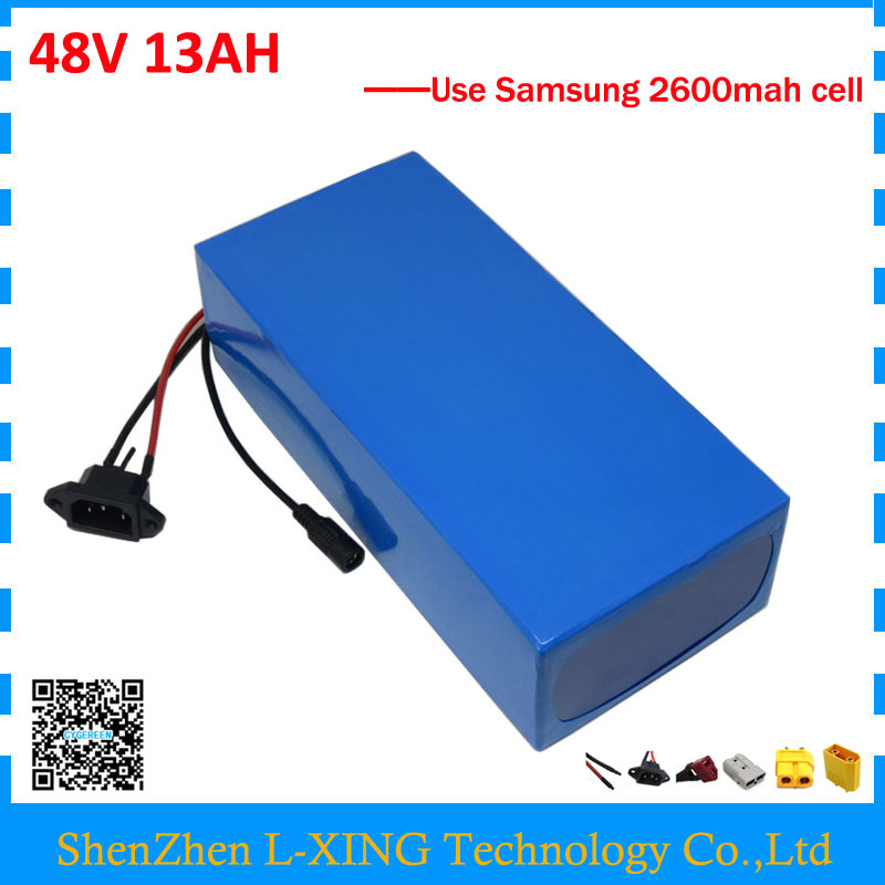 Electric bike battery 48V 13AH 48 V ebike e scooter Li ion battery 13AH use samsung 2600mah cell 2A Charger Free customs duty free customs taxes powerful 48v 1000w electric bike battery pack li ion 48v 34ah batteries for electric scooter for lg cell