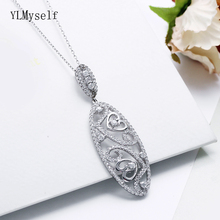 Luxury 925 Sterling Silver Pendant Necklace Long Shape Heart design Romantic Suspension Jewellery Best gifts Jewelry
