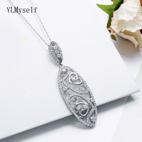 Luxury 925 Sterling Silver Pendant Necklace Long Shape Heart design Romantic Silver Suspension Jewellery Best gifts Jewelry
