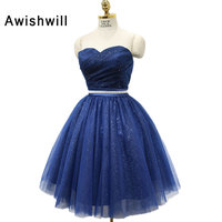 Vestido de festa Curto azul marino corto vestido de novia de escote Encaje-up volver balón vestido Vestido corto vestido de fiesta barato