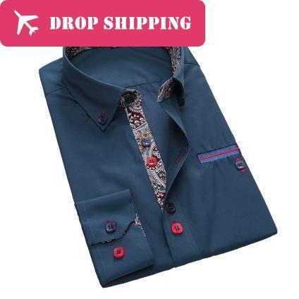 Top Quality Brand Business Casual Italian Style Printing Collar Slim Printing Pure Cotton Dress Shirts,size 3xl=us L, G2744