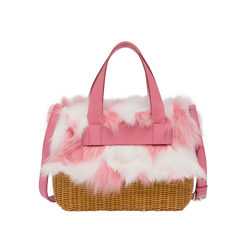 Vegetable Basket Women bags Picnic Handmade Rattan Woolen Bag Fox Wool Sheepskin One-shouldered Vegetable Basket Women's Bag ace bike basket bag for brompton vegetable basket dupont waterproof fabric