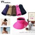 Вентилятор шляпа солома лето пляж солнцезащитные головные уборы женщина складной вс шапки ультрафиолетовый солнцезащитный козырек шляпа YY0090