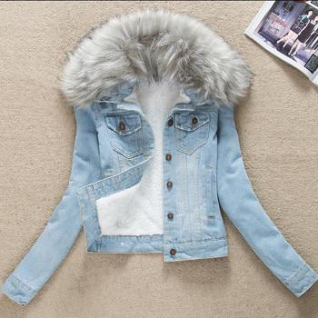 s-4XL Plus Size Denim Winter Jacket Women With Fur Collar Slim Jeans Jackets Thick Outerwear Short cotton-padded jacket