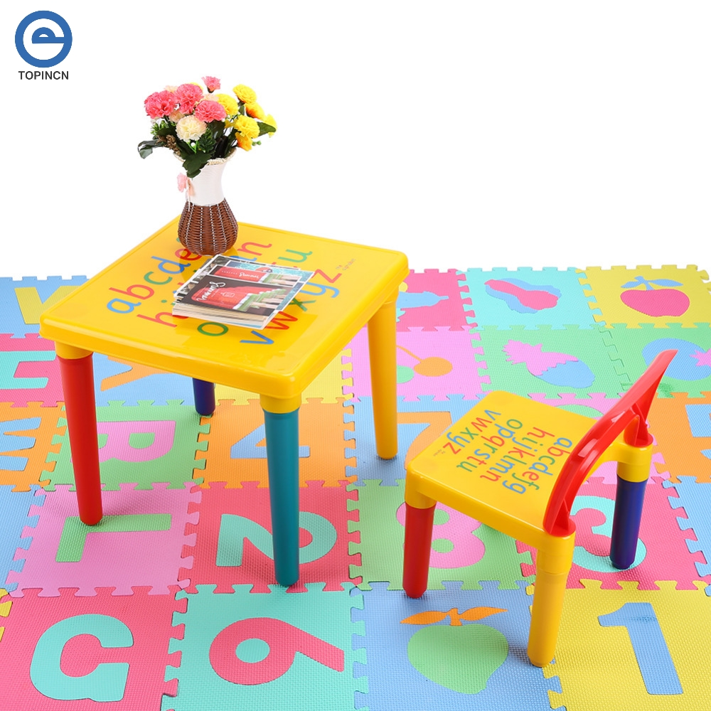 Us 16 2 19 Off Abc Alphabet Plastic Table And Chair Set For Kid Children Furniture Sets Dinner Picnic Desk Seat In