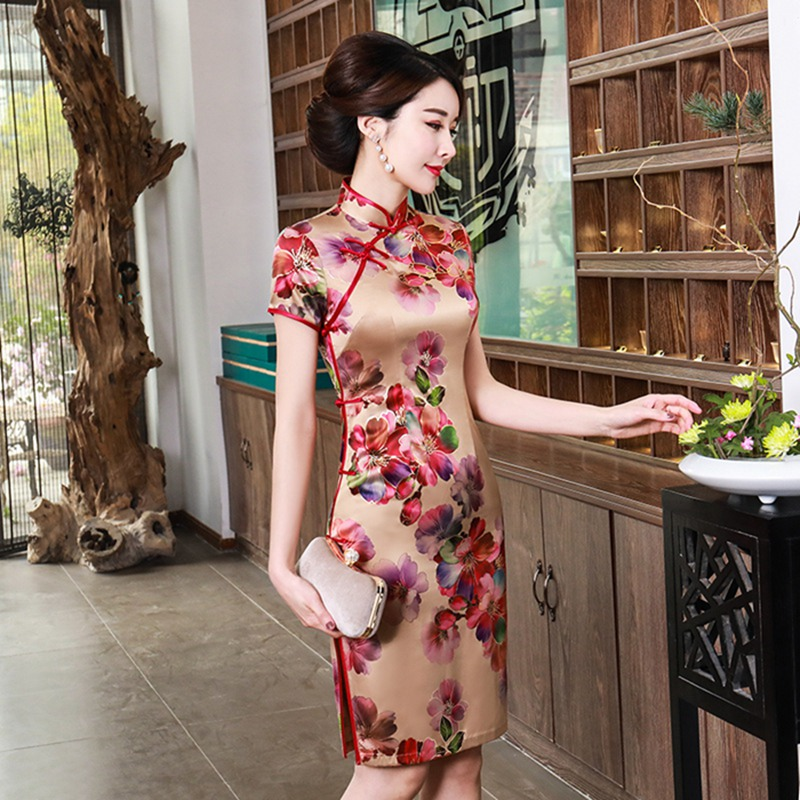 Chinese Women Red Flower Wedding Qipao Vintage Mandarin Collar Cotton Mini Cheongsam Plus Size Short Sleeve Evening Dress M-4XL