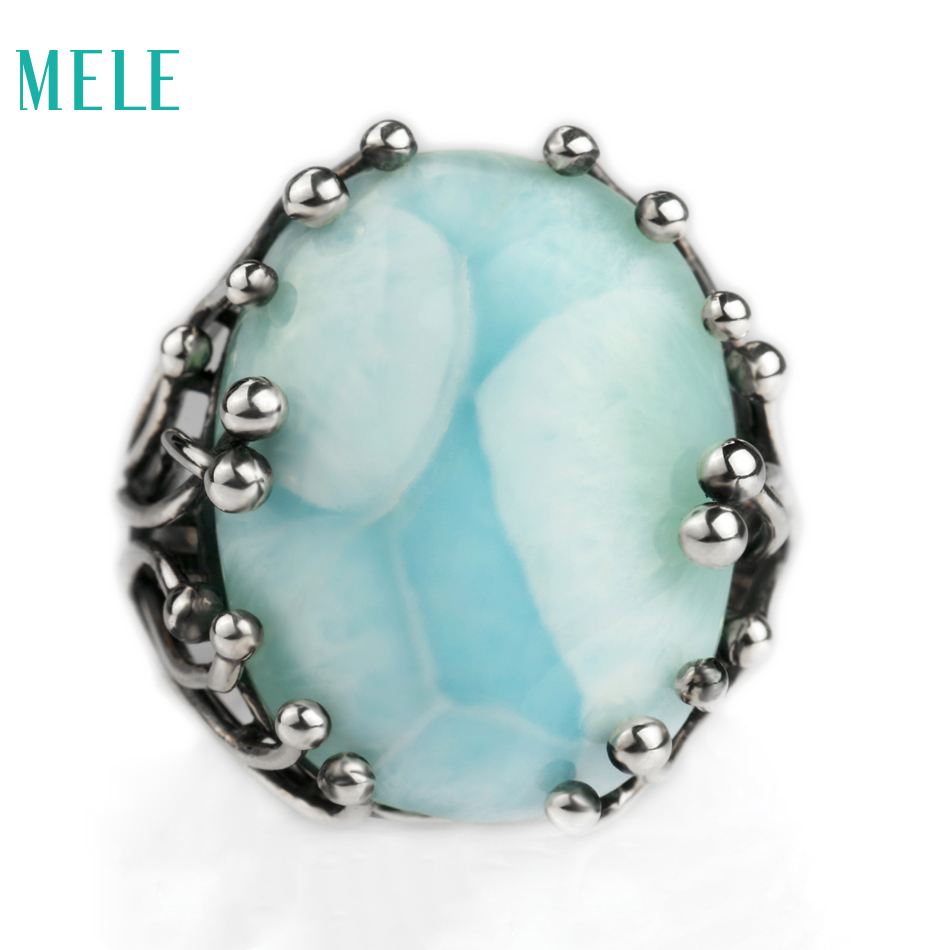 Natural larimar silver ring, oval 15mm*20mm, blue stone and special design, both men and women , aitistic and exquisite