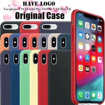 3e076e9ce80 Que logotipo oficial de caso iPhone 7 para iPhone 7 Plus 6 S 6 S suave silicona  líquido Original de la cubierta del teléfono para iPhone X XS X Max XR 5 5S  ...