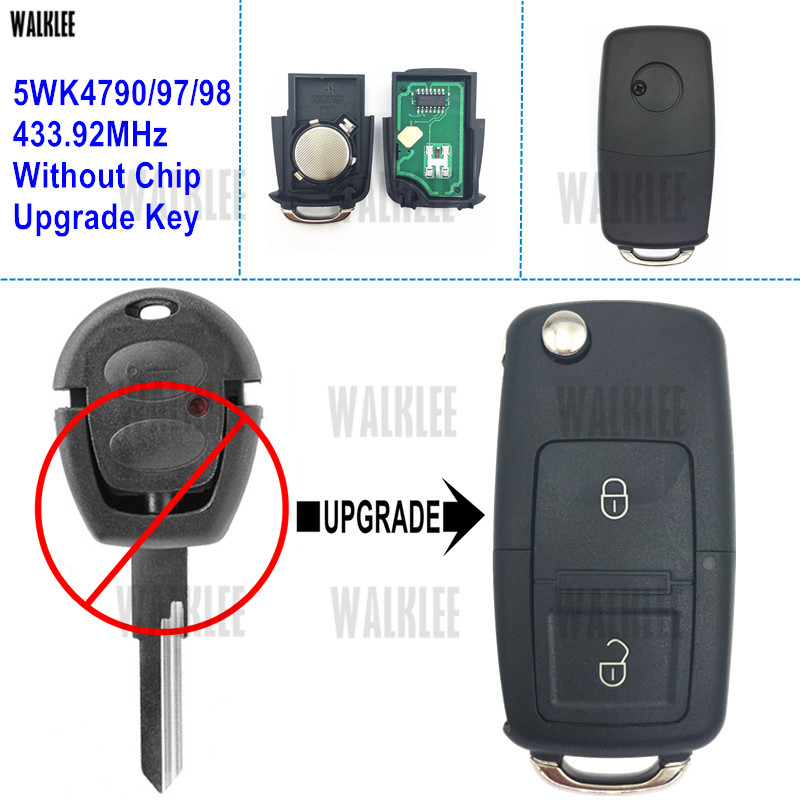 WALKLEE Upgrade Flip Remote Key Suit For SEAT Arosa/Alhambra/Ibiza/Cordoba 5WK4 790/97/98 433.92MHz No Chip HU49 Blade