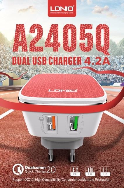 LDNIO A2405Q Quick 2.0 2 Usb poorten UK/EU/US Plug Muur Mobiele Telefoon Smart Charger