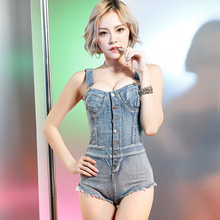FIRST FEELING Womens Rompers Playsuits High Cut Bodysuits Summer Denim Shorts Sexy